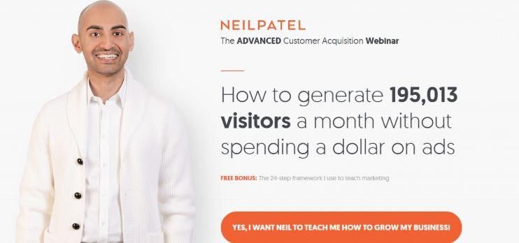 Landing page của Neil Patel