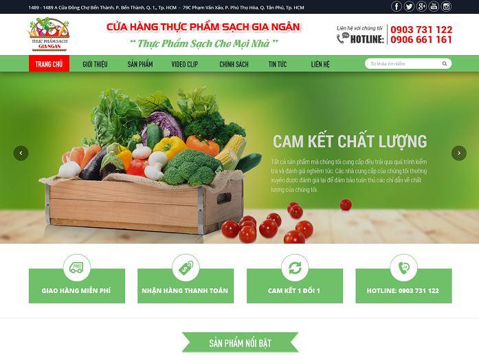 Giao diện của website thực phẩm dinh dưỡng
