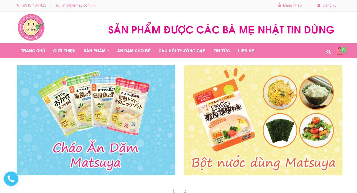 Website thực phẩm cháo ăn dặm Matsuya