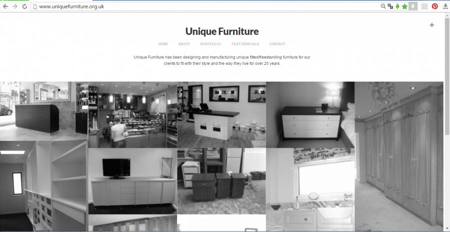 mẫu website nội thất Unique Furniture