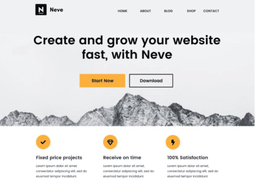Theme wrodpress website Neve