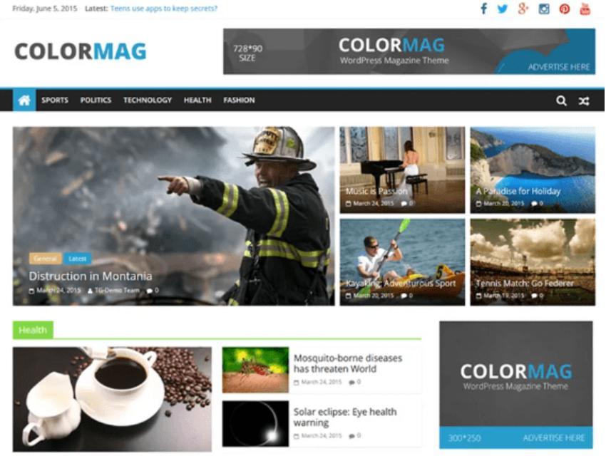 Theme wordpress website miễn phíColorMag