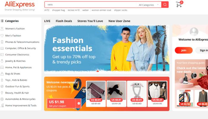 mẫu website bán hàng aliexpress