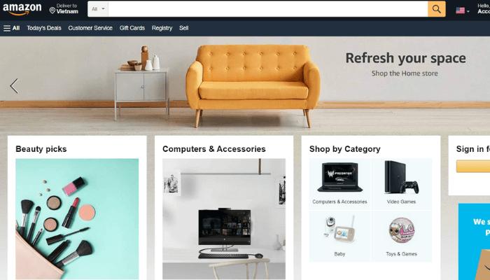 mẫu website bán hàng amazon